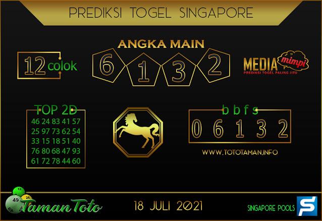Prediksi Togel SINGAPORE TAMAN TOTO 18 JULI 2021
