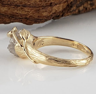 Unique Engagement Rings using rough uncut cruelty free diamonds as well as cruelty free gold.