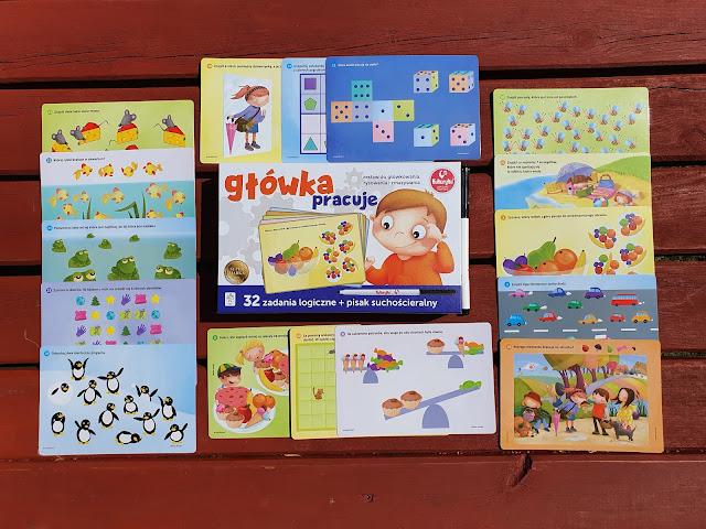 Główka pracuje - zestaw do glówkowania,rysowania i zmazywania - Wydawnictwo Kukuryku - zadania logiczne - gry i zabawy dla dzieci - gry dla dzieci - zestaw z pisakiem - tablice suchościeralne