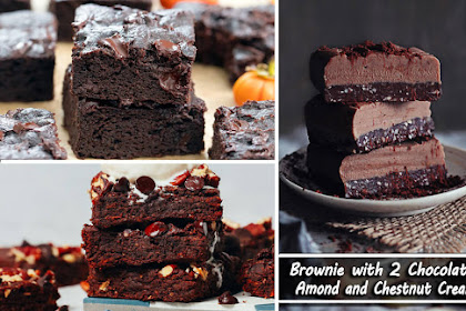 Brownie with 2 chocolates, almond and chestnut cream