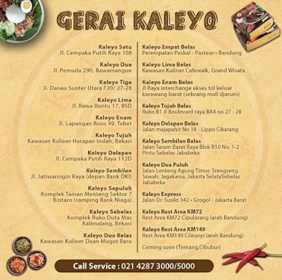 Daftar lokasi restoran Bebek Kaleyo