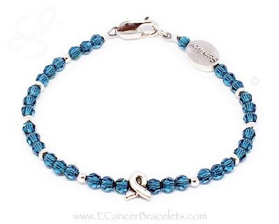 Teal Ribbon Survivor Bracelet (.925 sterling silver & Swarovski Crystals)