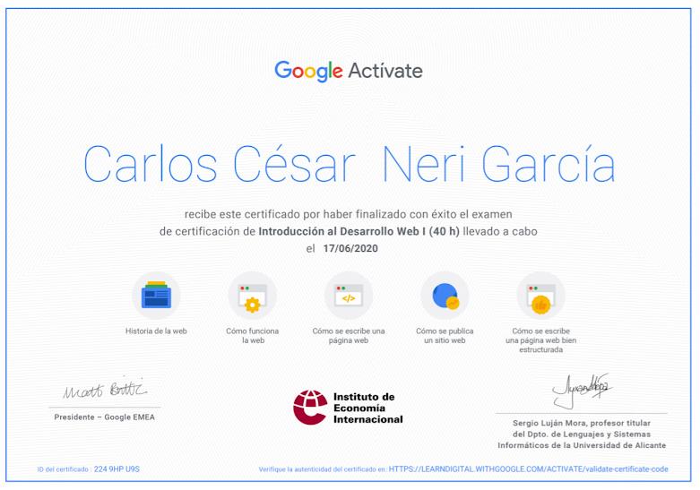 Certificación Introducción al Desarrollo WEB 1