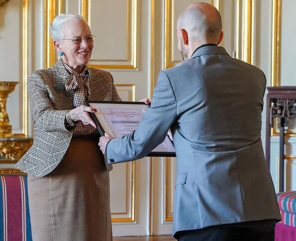 Queen Margrethe II of Denmark. Chief physician Ellen-Margrethe Hauge and Aalborg University Hospital clinical assistant  Rasmus Westermann