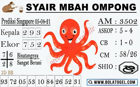 Syair Mbah Ompong SGP Senin 05-Apr-2021