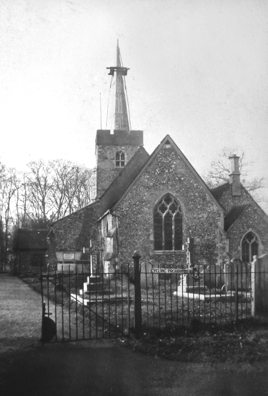 "Photograph of St. Mary's Church, North Mymms as the spire/spike is removed in 1953 because many county churches had tall spires, this became known as ""The Hertfordshire Spike"""