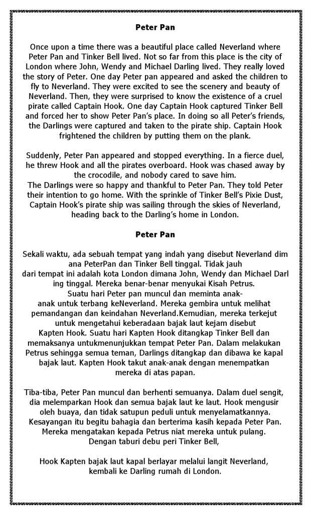 Cerita Tinker Bell Inggris dan Terjemahan