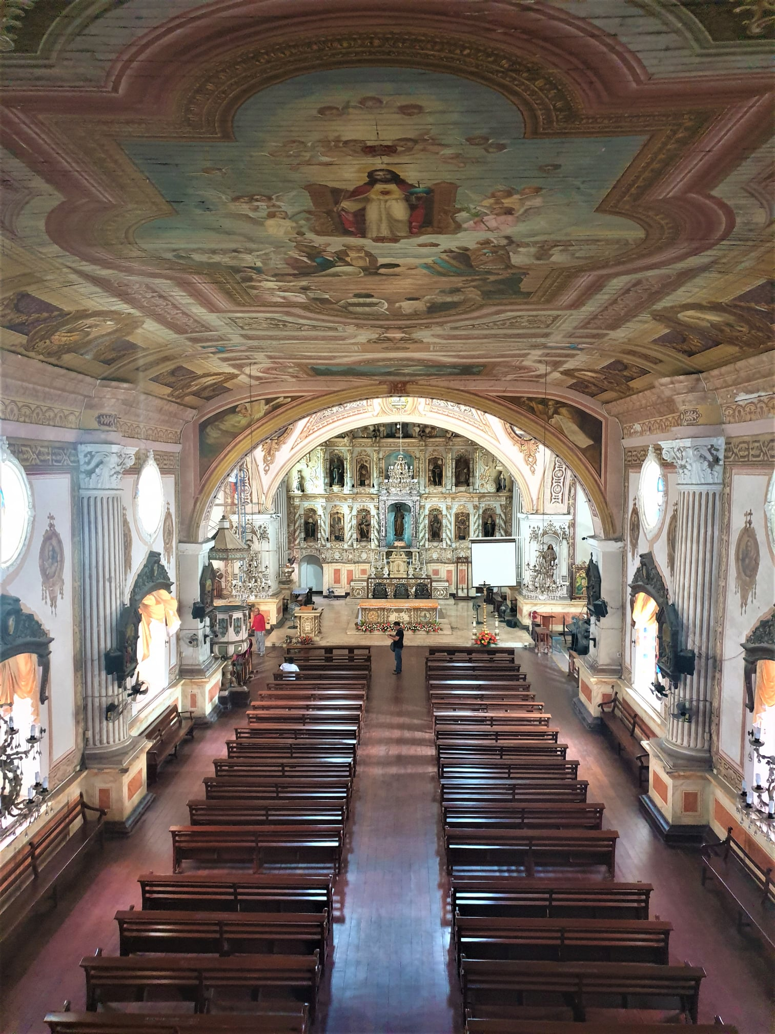 View of the church interior from the choir loft - Parish Church of Santiago Apostol also known as Betis Church in Guagua, Pampanga