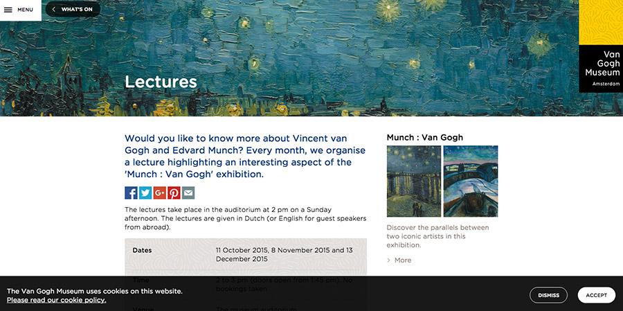 Van Gogh Museum interior webpage design