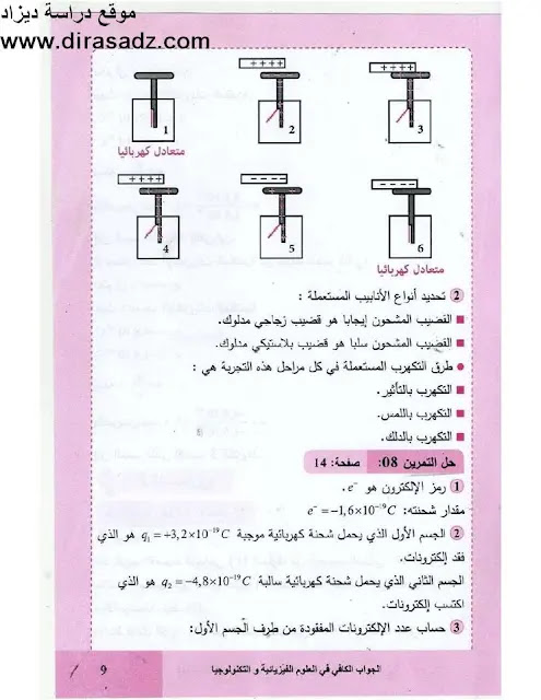 حل تمرين 8 صفحة 14 الفيزياء  للسنة الرابعة متوسط جيل الثاني