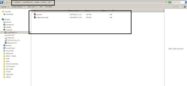 folder localhost mencari gaji pegawai dengan PHP