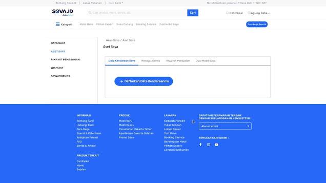 Fitur Website Seva Pusat Mobil Murah - Halaman Akun
