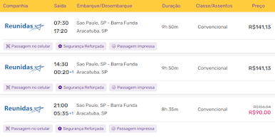 Passagens da Reunidas Paulista entre São Paulo e Araçatuba.