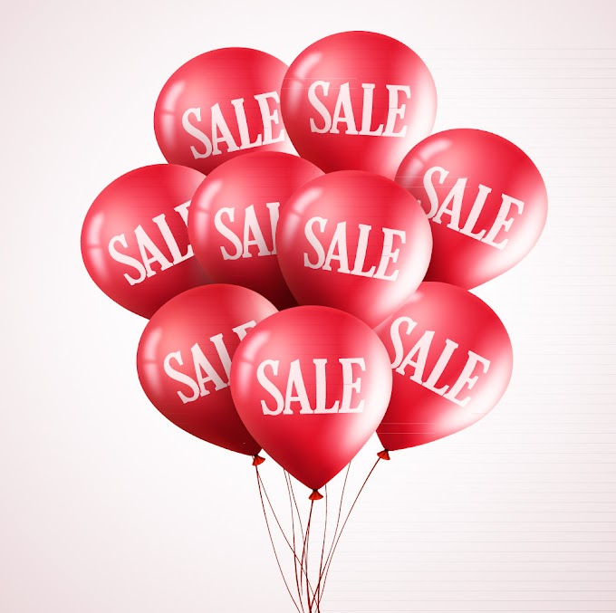 Red sale balloons bunch free vector material