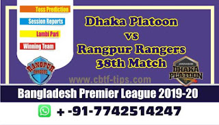 Who will win Today BPL T20, 38th Match Rangpur vs Dhaka - Cricfrog