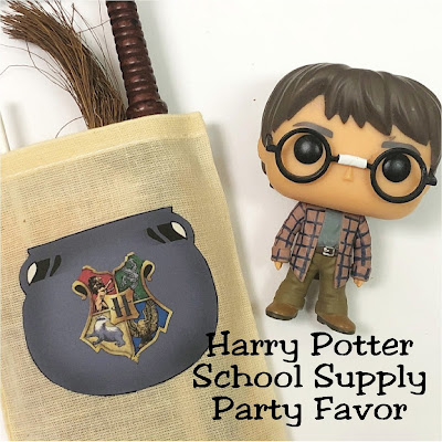 Get ready for Hogwarts at your Harry Potter party. Use the cauldron bag to gather your Hogwarts School of Witchcraft and Wizardry school supplies.  It's a quick and easy project that will give you the perfect party favor.