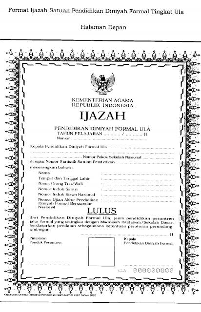 Contoh blangko atau Format Ijazah Satuan Pendidikan Muadalah dan Satuan Pendidikan Diniyah Formal