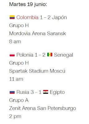 Partidos del Mundial martes 19 - 2018