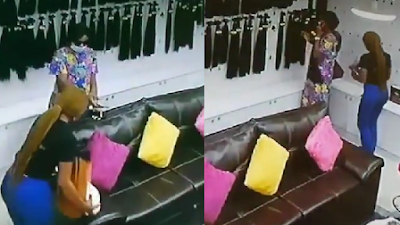 Lady Caught On Camera Stealing Bone-Straight Human Hair Worth N200k In Lagos
