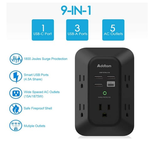 Addtam 5 Outlet Extender with 4 USB Wall Charger