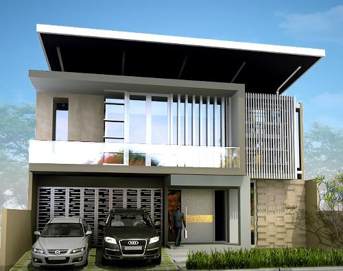 atap rumah minimalis dua lantai
