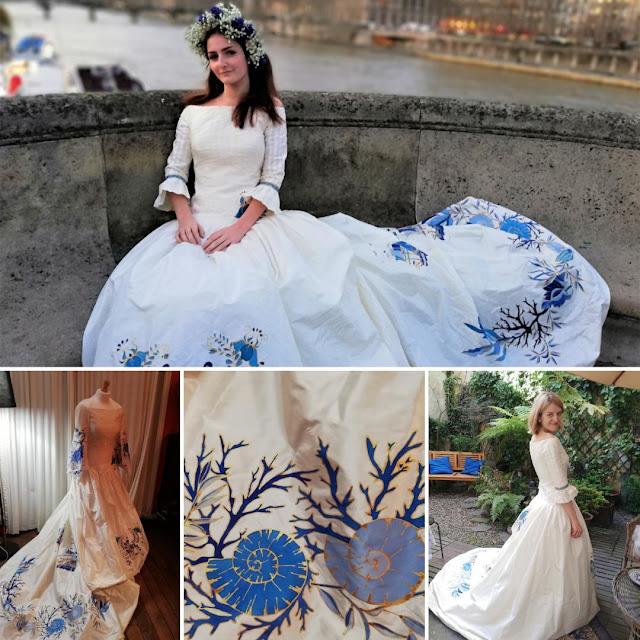 robe de mariée peinte à la main
