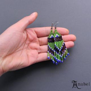 купить серьги в этно стиле из бисера сережки ручной работы зеленого цвета ру