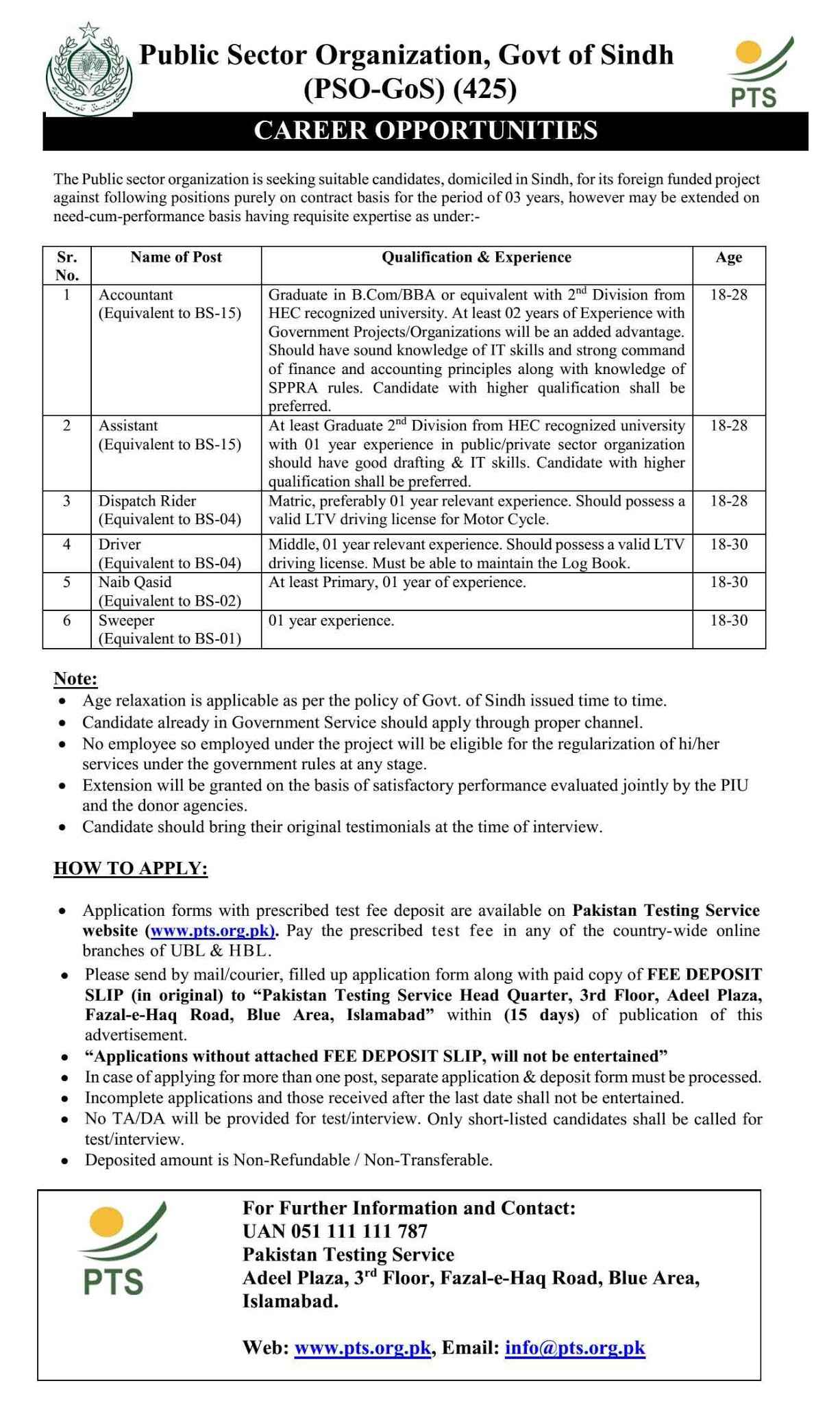 Pakistan Testing Service PTS Jobs for Public Sector Organization, Govt of Sindh (PSO-Sindh) Jobs 2020