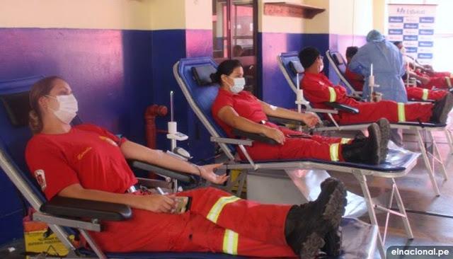 Bomberos del Callao se unen a campaña de donación de sangre de EsSalud