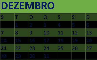 A imagem mostra o calendário de dezembro que finaliza o ano em 31/12/ no calendário, mas nos fatos não!