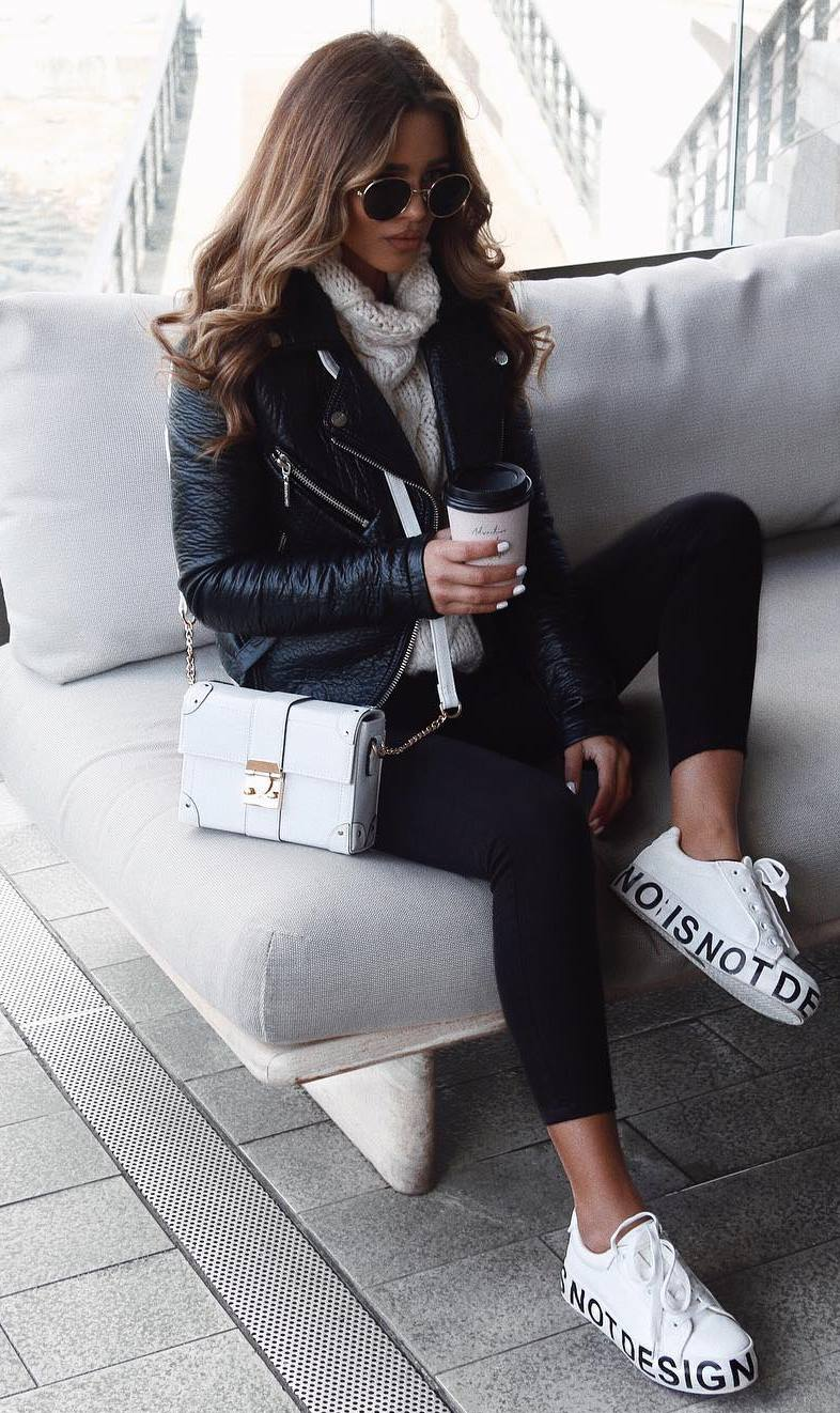 fall street style obsession / biker jacket + knit sweater + bag + sneakers + skinny pants