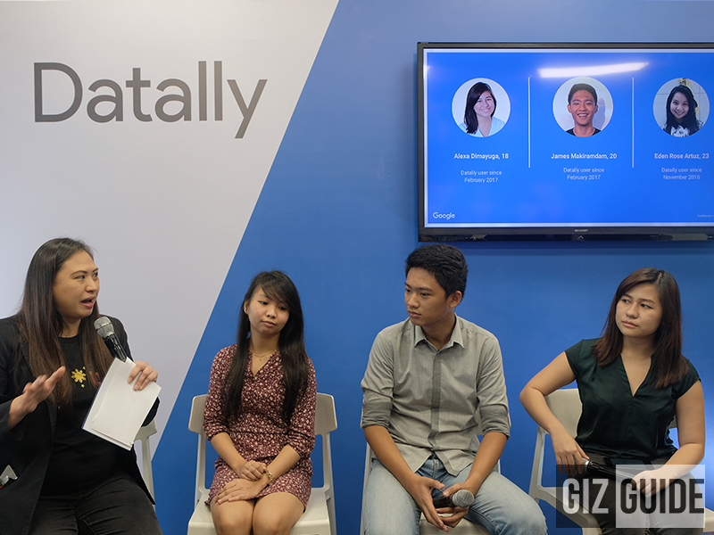 Gail Tan, Head of Communications and Public Affairs, Google Philippines; Eden Rose Artuz, Alexa Dimayuga, and James Makiramdam - Datally Testers