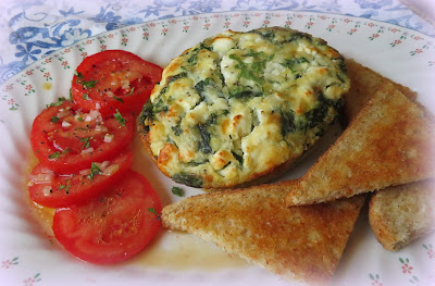 Spinach, Onion & Feta Oven Omelettes