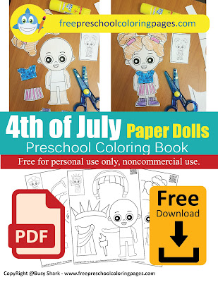 4th of july independence day america usa flag paper dolls free preschool coloring pages free printable activity for kids