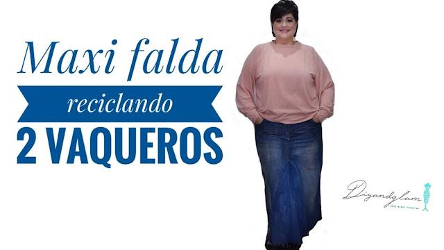 Maxi falda vaquera con 2 jeans
