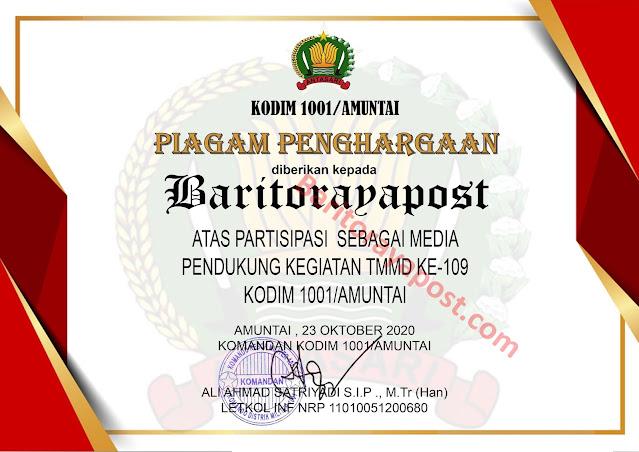 Baritorayapost.com Terima Piagam Penghargaan TMMD Reg 109 dari Dandim 1001/Amuntai