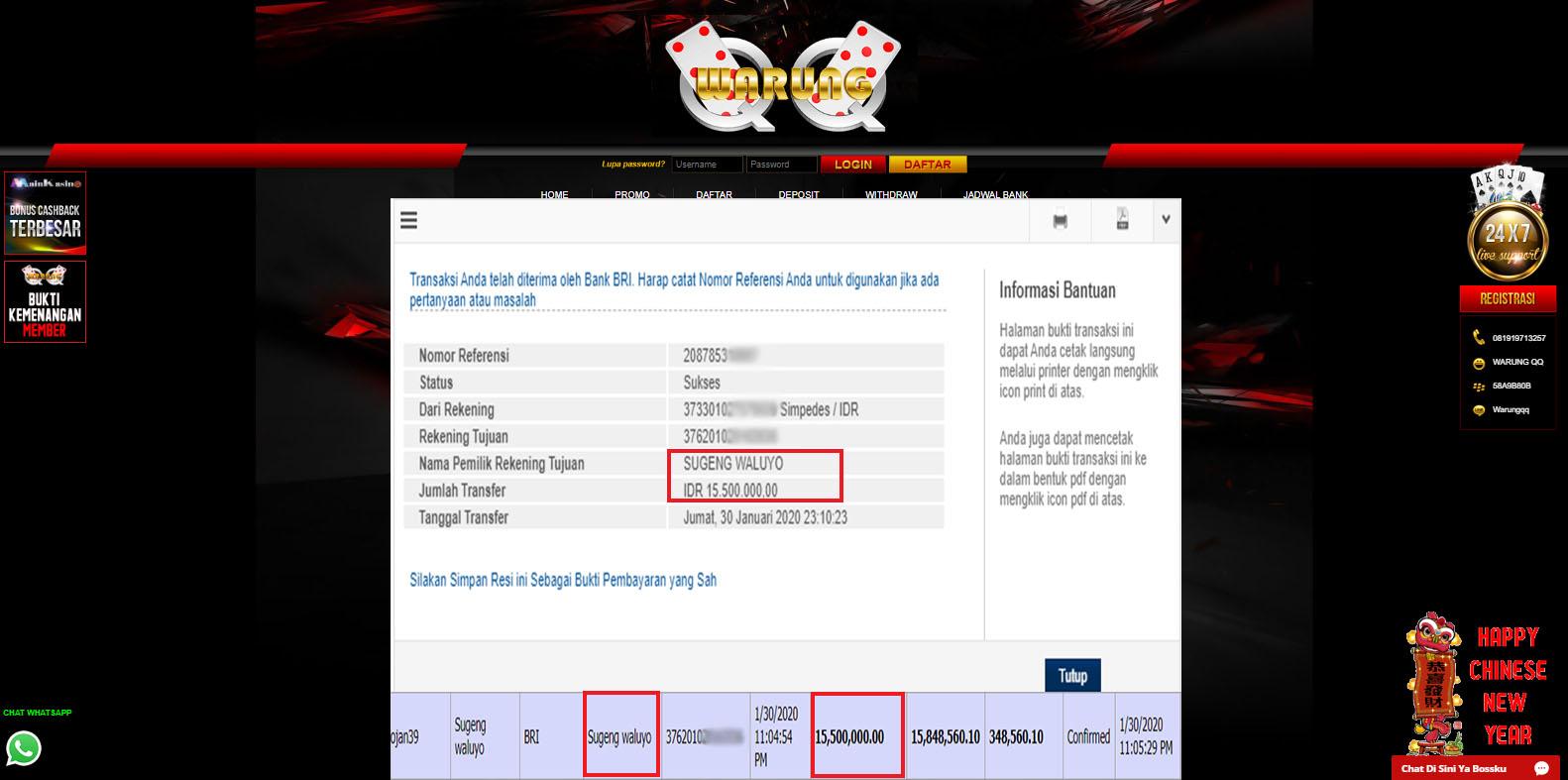 Selamat Kepada Member Setia WARUNGQQ Withdraw RP 15.500.000