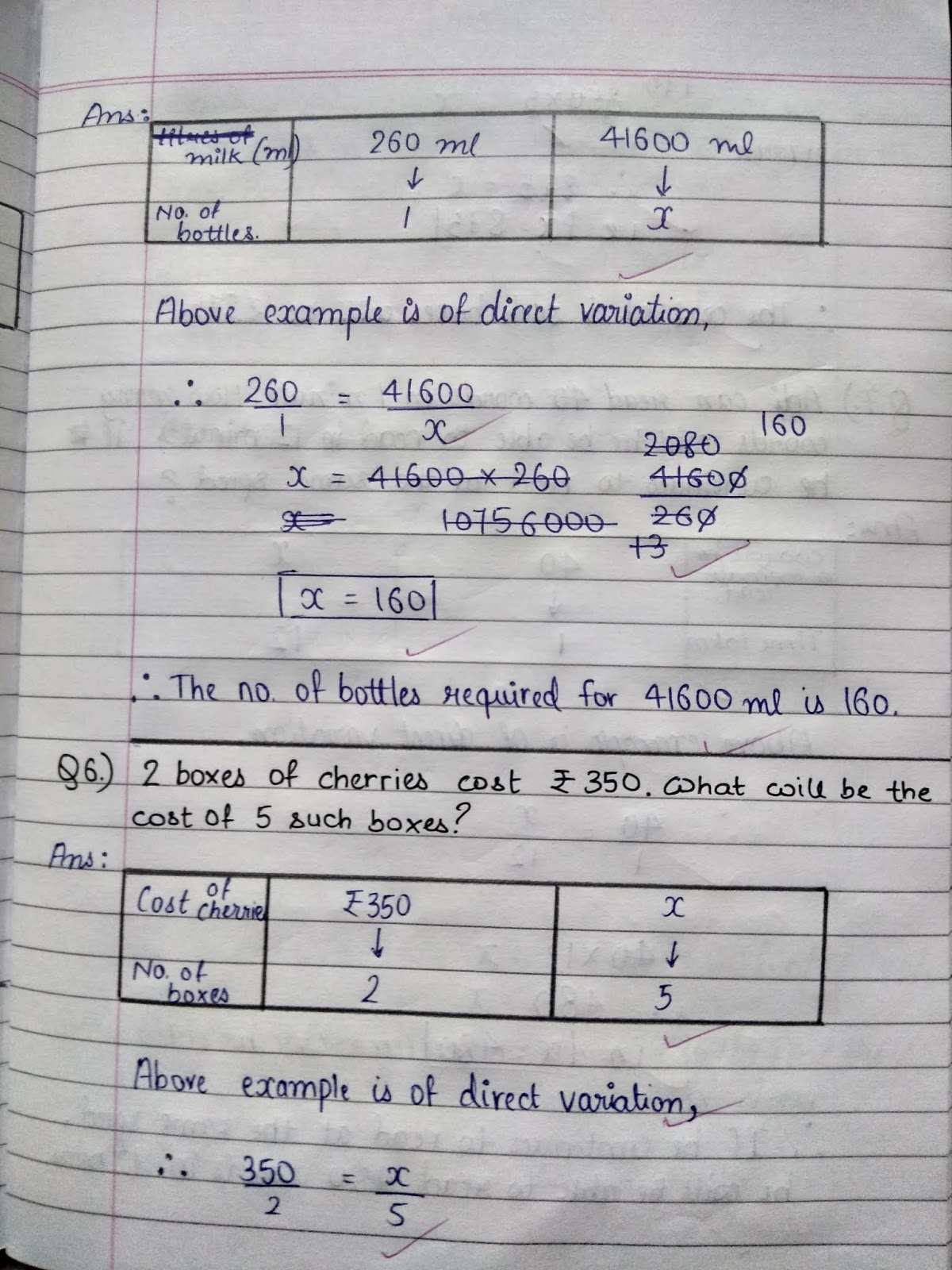 Math Ch 15 Direct And Inverse Variation Notebook Exercise