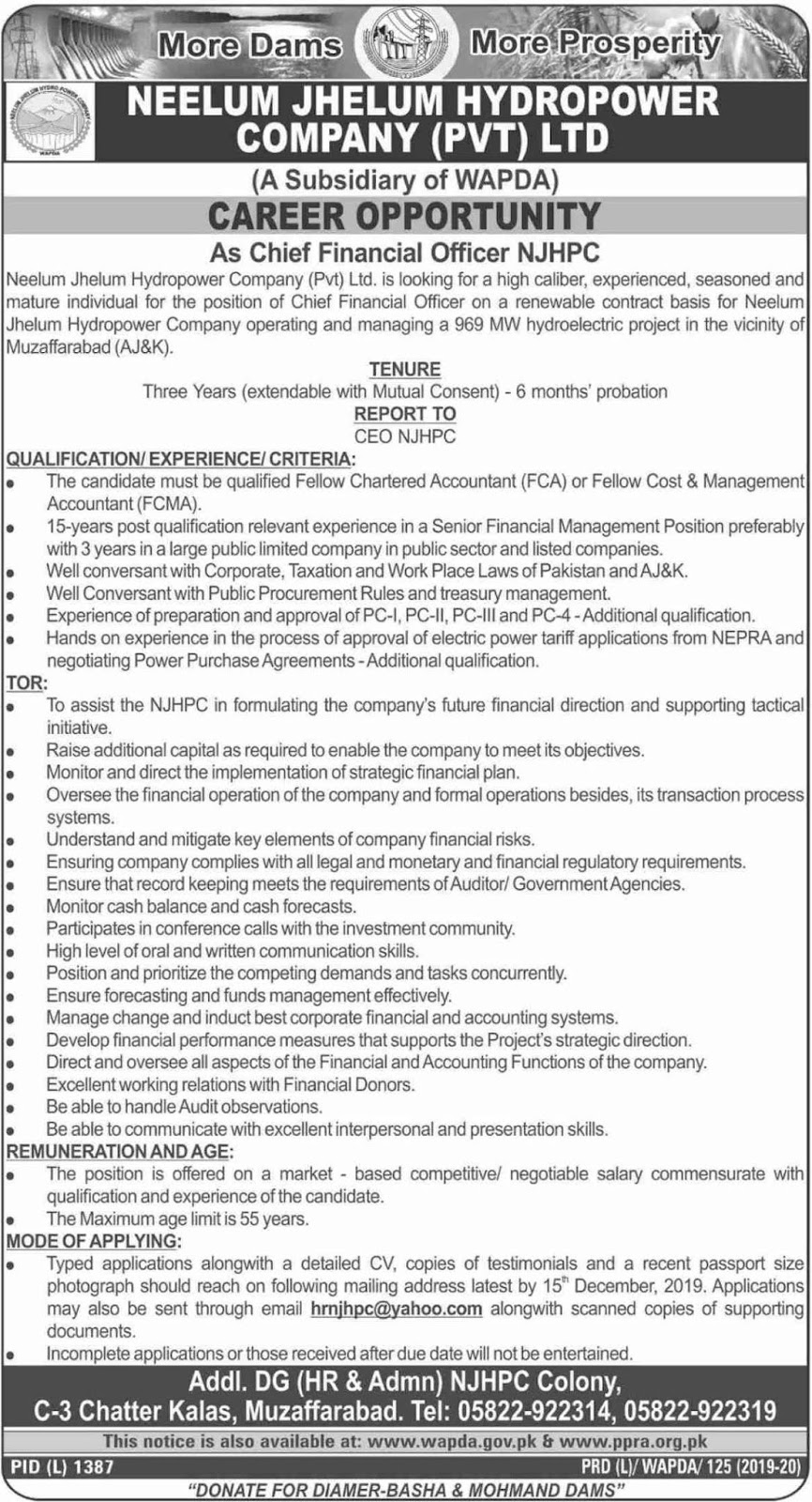 Wapda Neelum Jhelum Hydropower Company Pvt Ltd Jobs Latest