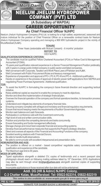 Wapda Neelum Jhelum Hydropower Company Pvt Ltd Jobs Latest