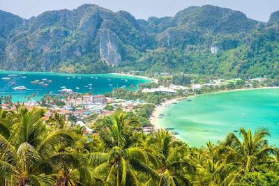 Vue aérienne du paysage de Koh phi Phi en Thailande