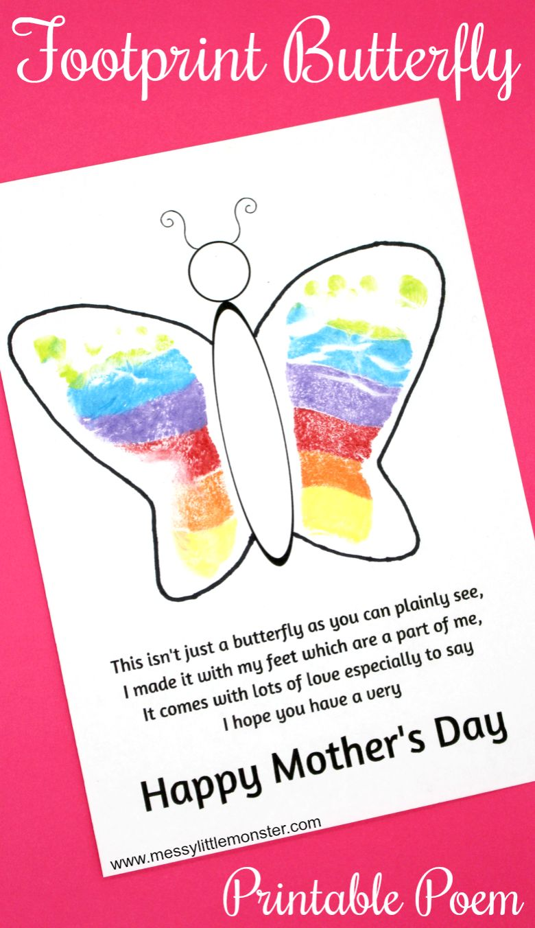 Footprint Butterfly Mother's Day Card craft for kids to make