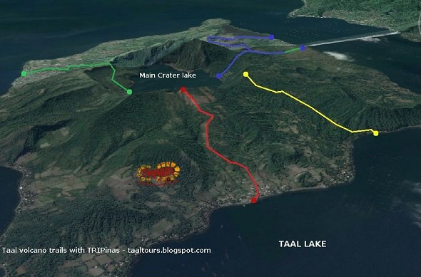 Taal volcano hiking map