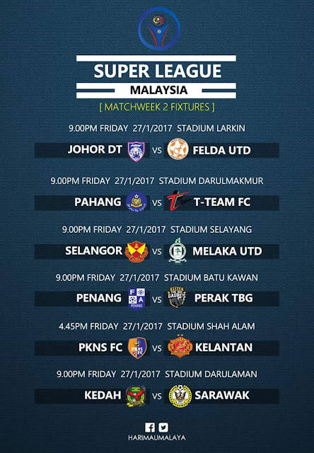 Live Streaming JDT vs Felda United 27 Januari 2017
