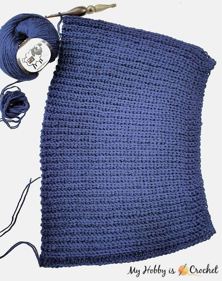 crochet hat worked sideways in rows