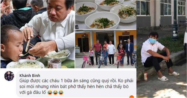 Trẻ nghèo lần đầu được ăn bát phở gà do ông Hải mua, Một số người dân vẫn chưa hài lòng...