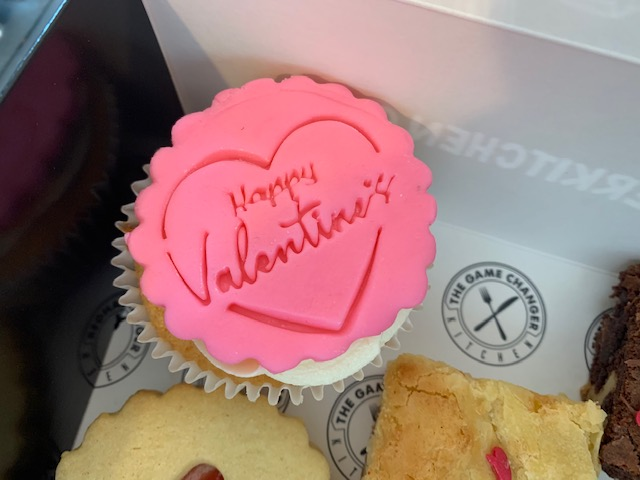 Valentine's vanilla cupcake in a treat box