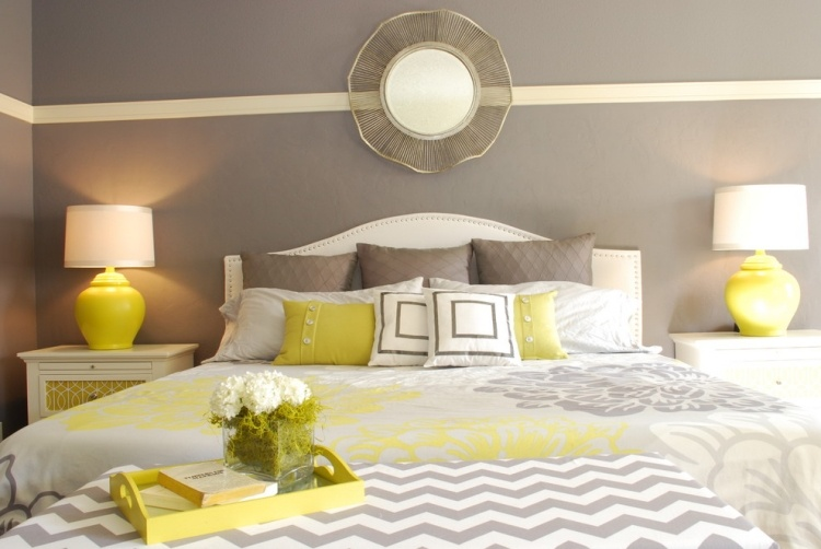 Gorgeous Yellow And Grey Bedroom Ideas With White Furniture And Side Lamps