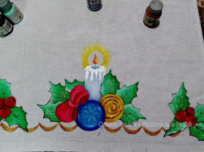 pintura em tecido vela de natal e laço
