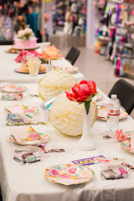 A floral themed party at Claire's